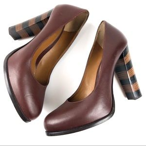 Fendi Pequot Brown Leather Striped Heel Pumps